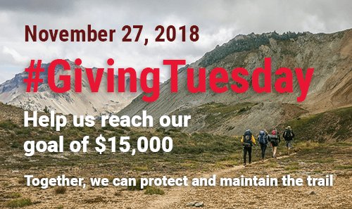 #GivingTuesday, Help us reach our goal of $15,000. Together, we can protect and maintain the trail