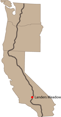 California, Oregon, Washington.  Pacific Crest Trail. Location of Landers Meadow in Southern California.