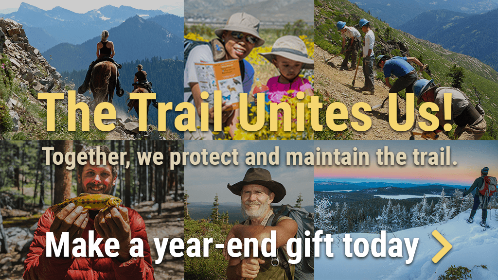 The Trail Unites Us! Together, we protect and maintain the trail. Make a year-end gift today
