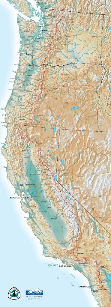 Map of the Pacific Crest Trail.