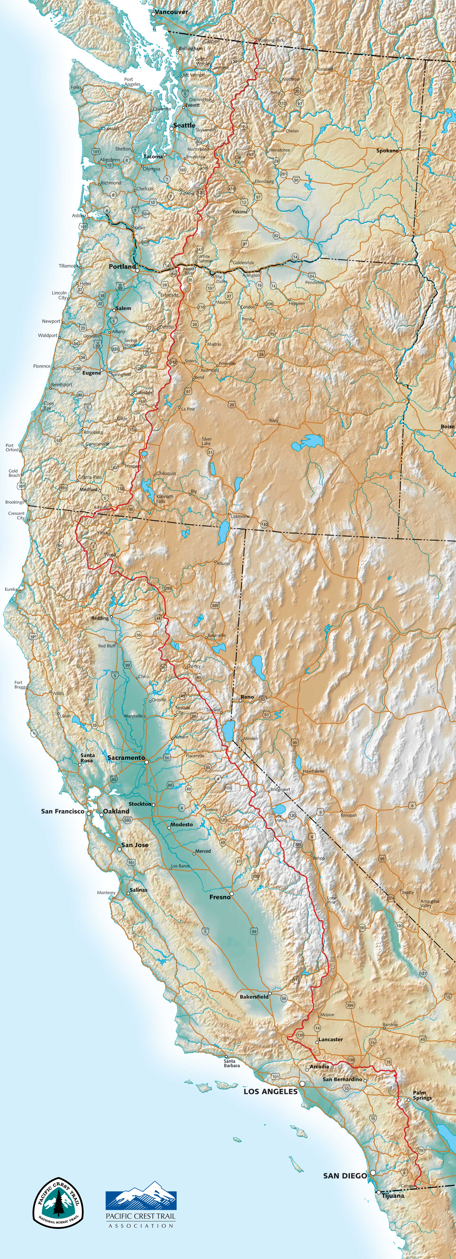 PCT Maps - Pacific highway usa map