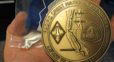 PCT Completion medal. Photo by Jack Haskel