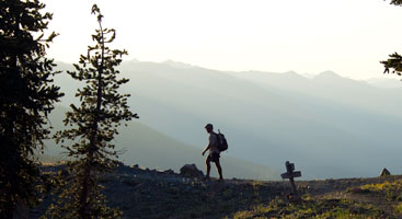 A thru-hiker takes a turn in Northern California. Photo by Ryan Weidert