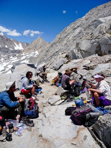 Thru-hikers snack and chat in the Sierra Nevada. Photo by Brandon White
