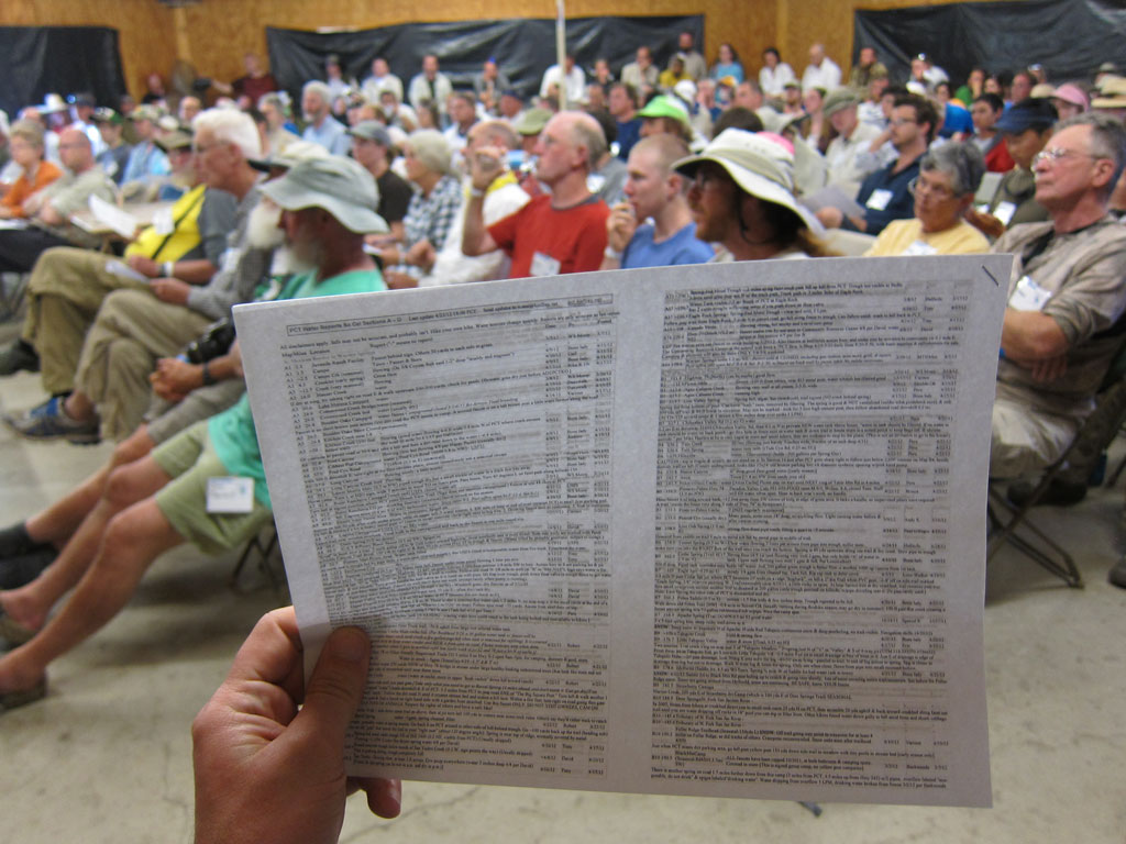 Reviewing the PCT Water Report at ADZPCTKO. Photo by Jack Haskel