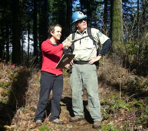 PCTA Regional Representative Dana Hendricks and late USFS trail champion Jim Proctor acting out management decisions for the camera.
