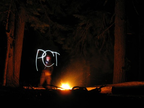 Pacific Crest Trail light painting. Photo by Deems Burton