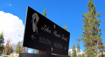 A sign on the John Muir Trail. Photo by Jack Haskel