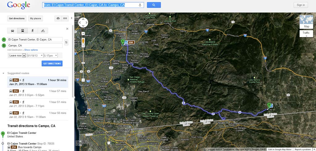 Bus from San Diego to Campo, CA. Getting to the Pacific Crest Trail via public transit.