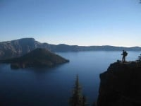 2013 Photo Contest - Human Spirit - Honorable Mention I made sure I was on the Crater Lake rim to see the morning light reflect on those azure waters.  Photo by: Emily Underwood