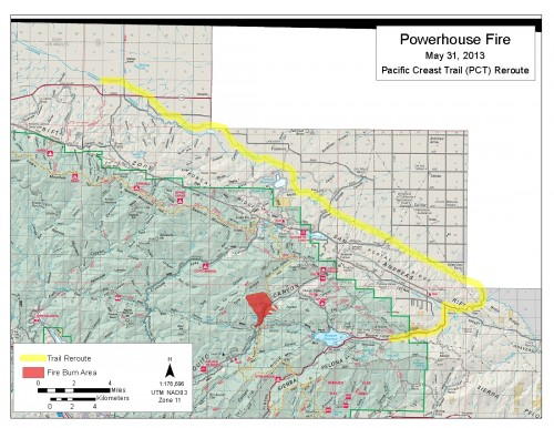 this detour is closed and threatened by fire