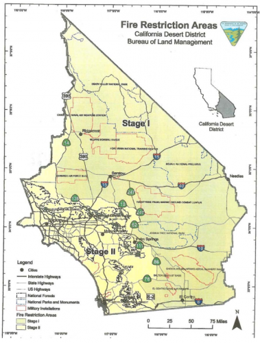 SoCal BLM Fire Restriction Map