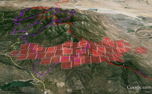 MODIS fire map of the Mountain Fire as of 10:50 am on July 16th.