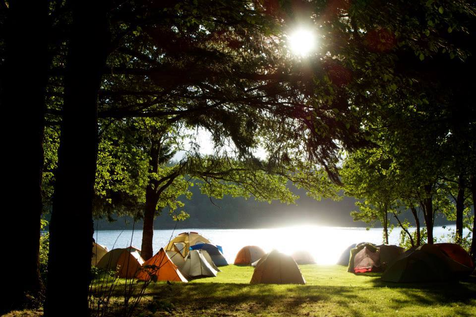Thunder Island filled with tents.