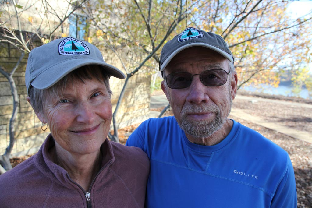 Dave and JoAnn Wampler, the volunteers that make the completion medals, sporting PCT hats. They're on sale for $9.23. That's a steal.