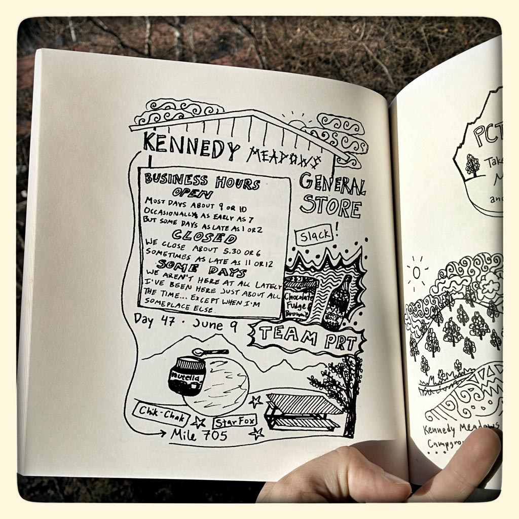 Katie captured the spirit of the PCT through drawing her experience on the trail. Some pages document specific locations on the trail, like this one for Kennedy Meadows.