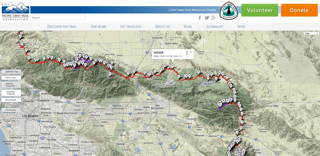 PCT interactive map is updated for 2014 Pacific Crest Trail