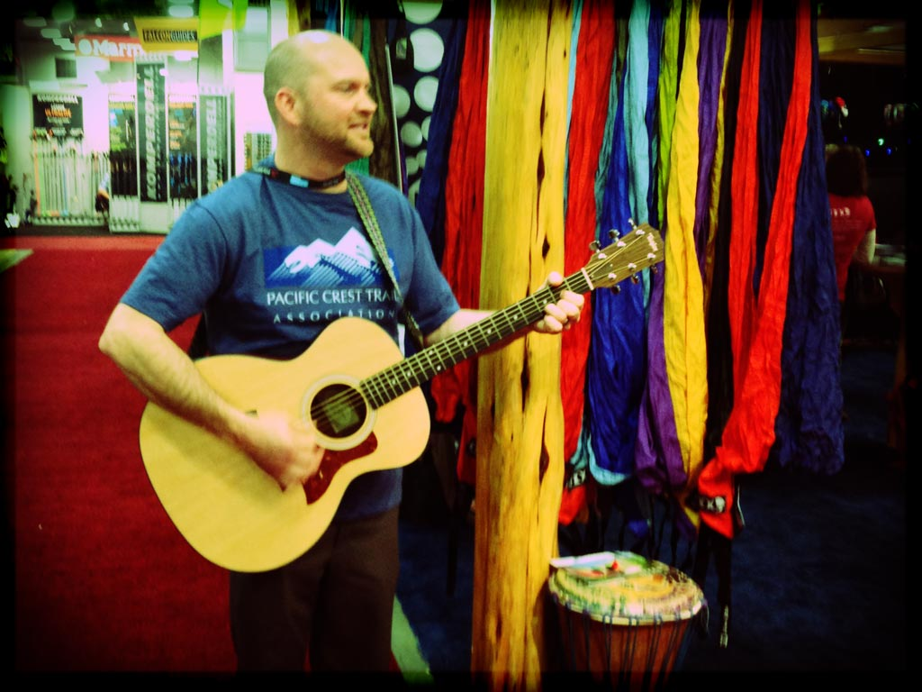 Joel entertaining the crowd for the joint PCTA and ATC fundraiser at the ENO Hammocks booth!