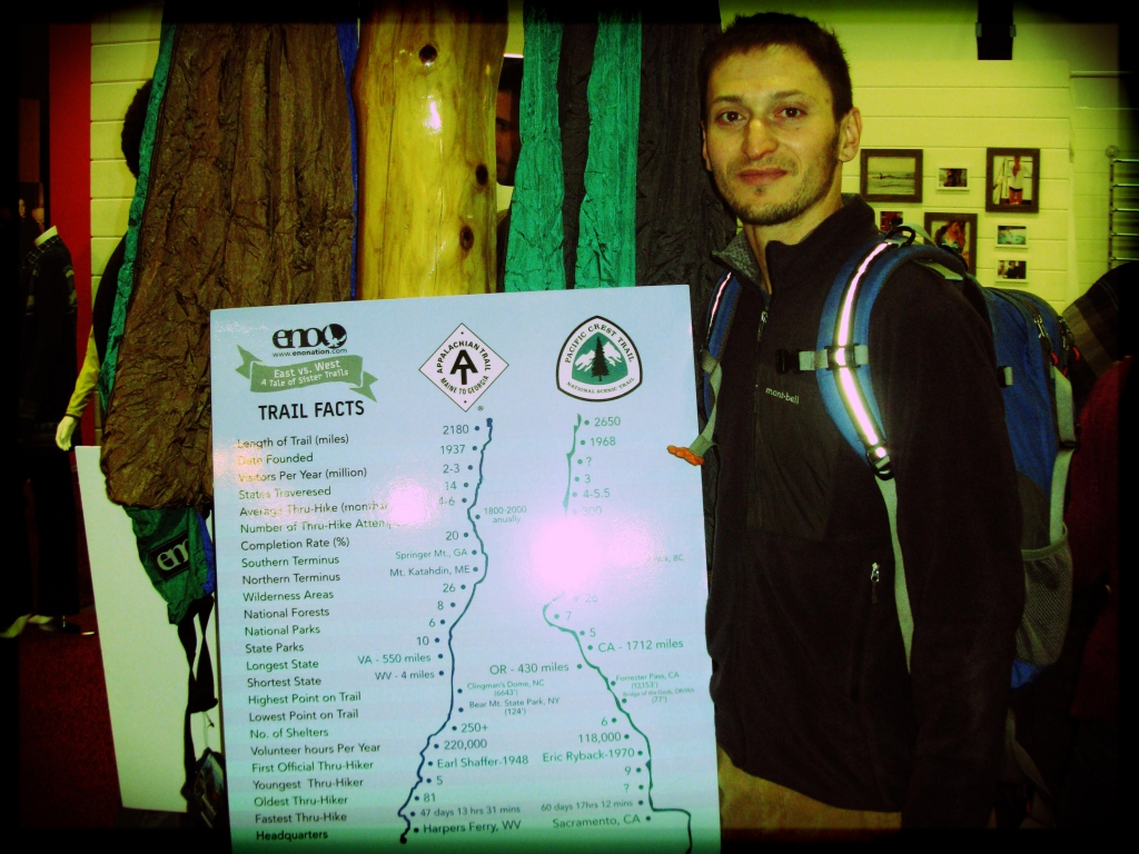 """Justin """"Trauma"""" Lichter, recently back from traversing Mexico's Copper Canyon, checking out the ENO Hammocks long trail fundraiser."""