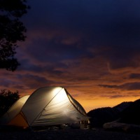 At sunset a thunder storm rumbled to our west as we hastily set up camp for the night. Photo by: Colin Arisman