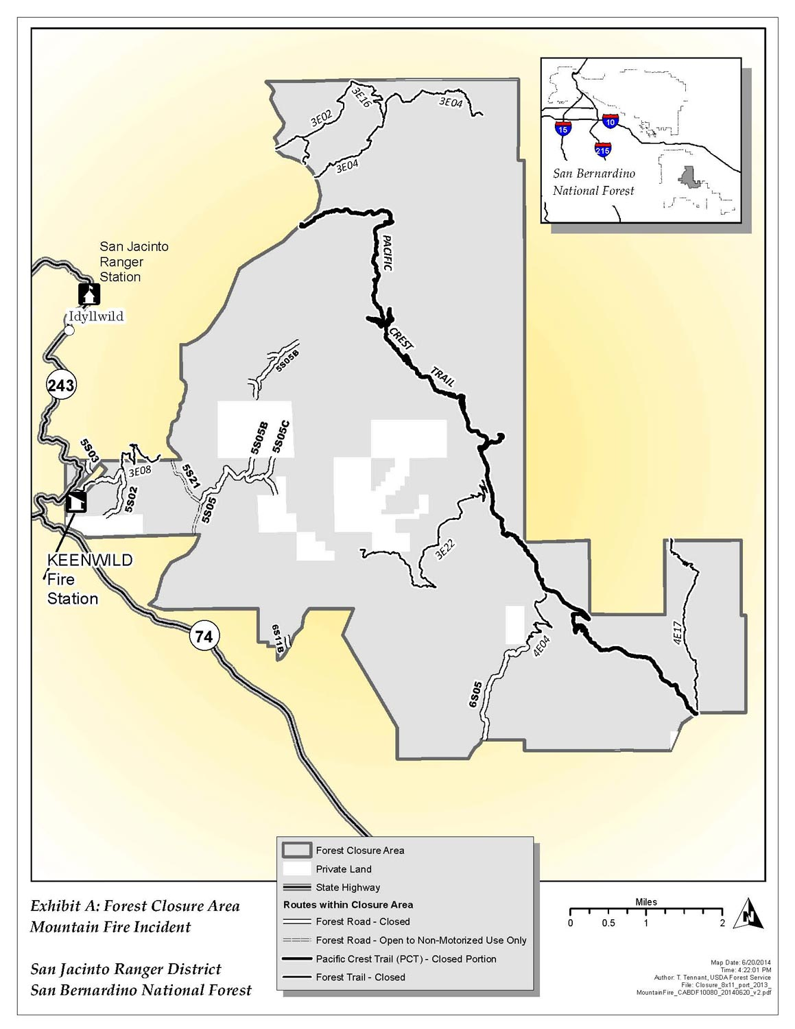 Mountain Fire Closure map as of June 24, 2014.
