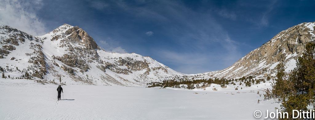 Skiing near Piute Pass during a recent snow survey.