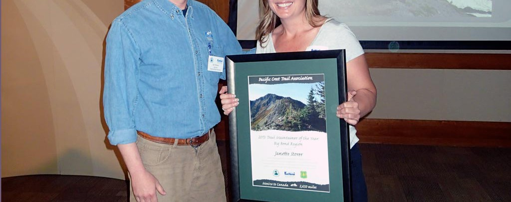 Thank you Janette Storer for your dedication towards improving the trail and for founding the NorCal Trail Crew! Janette is standing with PCTA's Big Bend Regional Representative, Ian Nelson.