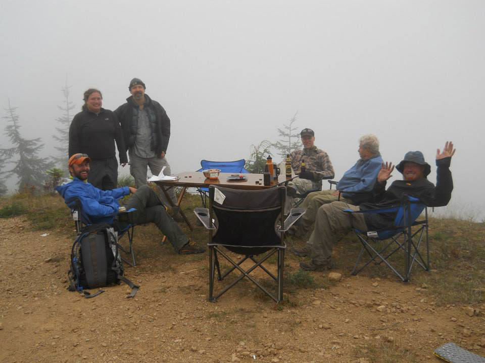 Some of the crew hosting thru-hikers on the trail last August.