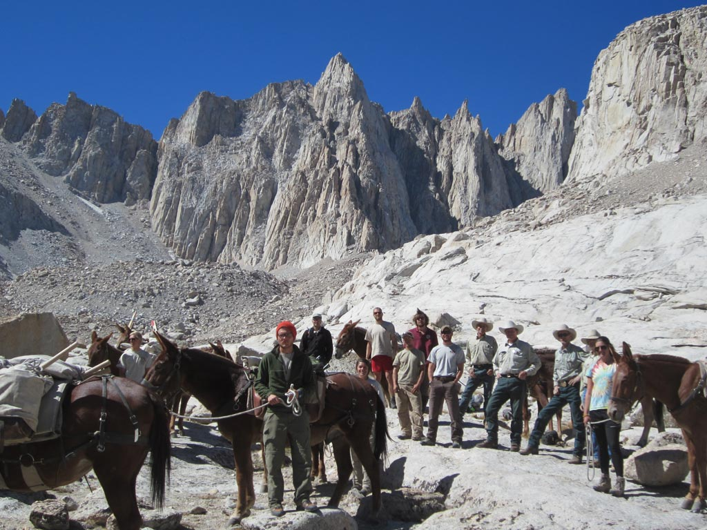 Packers and trail workers together below Mt. Whitney.