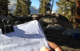 Composing music in the Sierra Nevada.