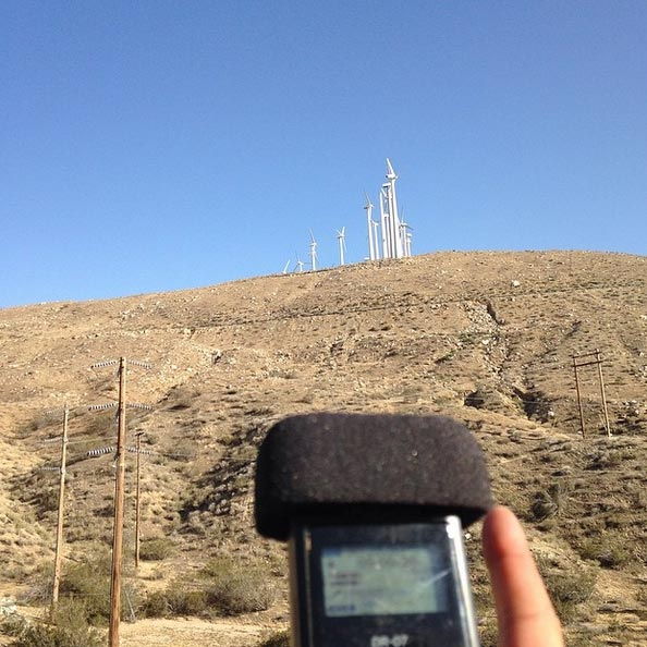 Recording the sound of windmills.