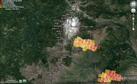 MODIS fire layer for the Mt. Jefferson area. There are multiple smaller fires in the area that do not appear on MODIS. Image taken at 12:57 on 7/17/14