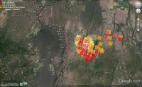 MODIS fire layer for the Bald Fire as seen at 2:29pm on 8/1/14
