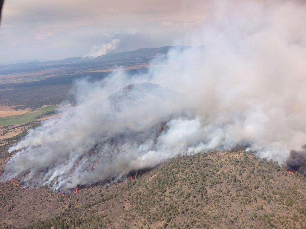 Bald Fire (foreground) and Day Fire (background), taken 7-31-14 (thanks to Walter Bunt)