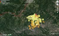 MODIS fire layer taken at  11:27 am on 8/4/14