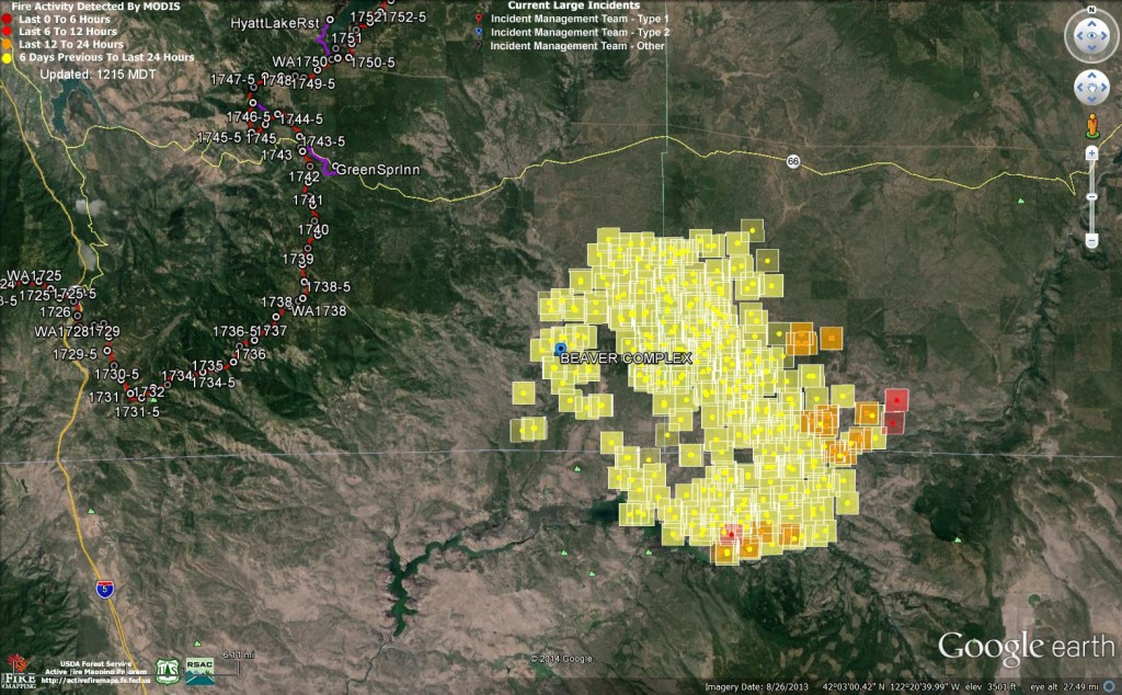 MODIS fire layer of Oregon Gulch Fire taken at  11:31 am on 8/4/14