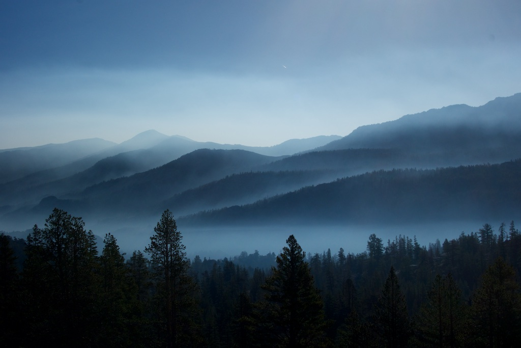 Wildfire smoke at sunrise. High Sierra, California