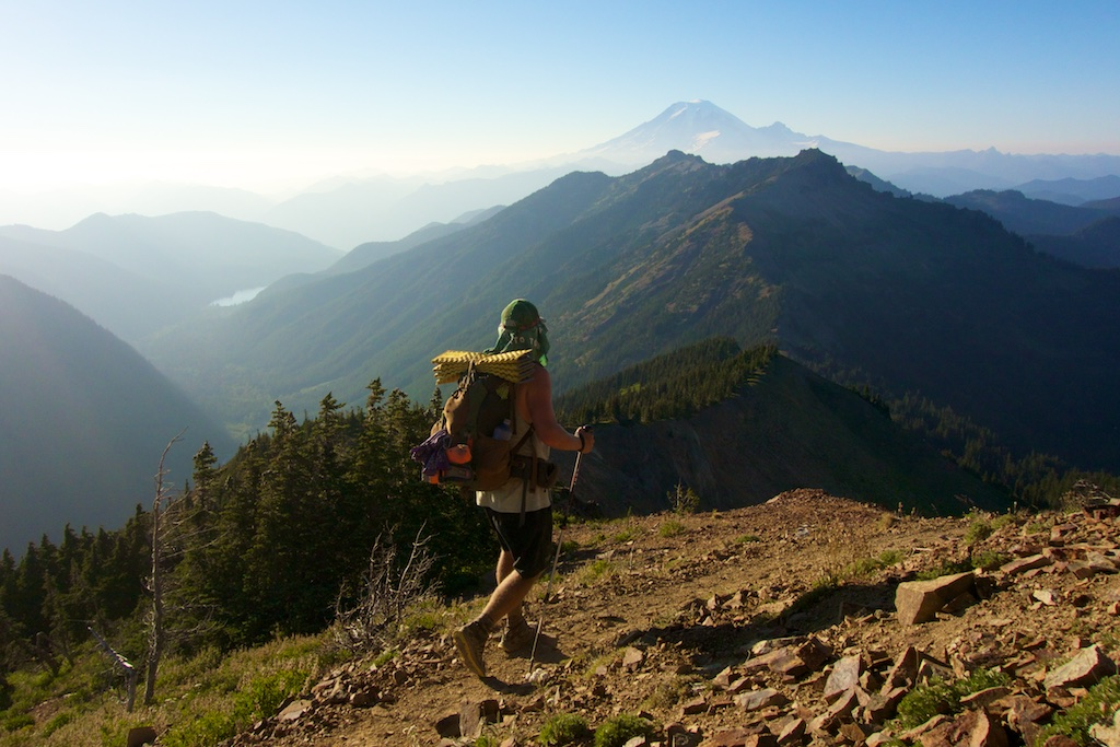 """Only The Essential Film-maker Colin Arisman traverses the """"knife edge"""" in Goat Rocks Wilderness. Washington State"""