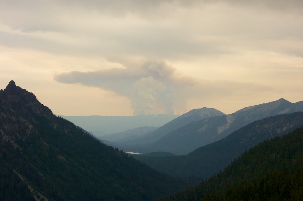 Smoke rises from wild fires east of Rainier National Park. Washington State