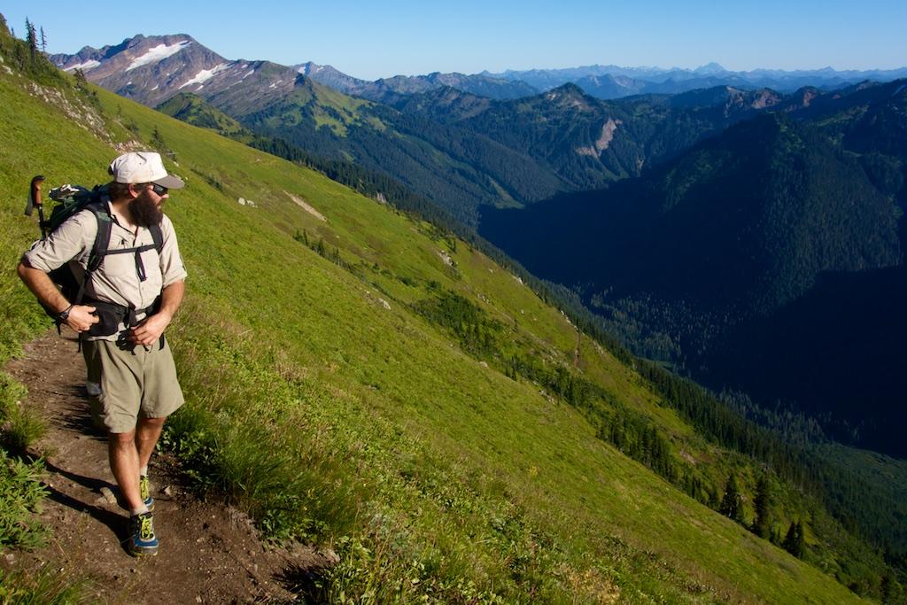 Thru-hiker Josh VanMeerveld reflects on the rugged alpine landscape. Washington State