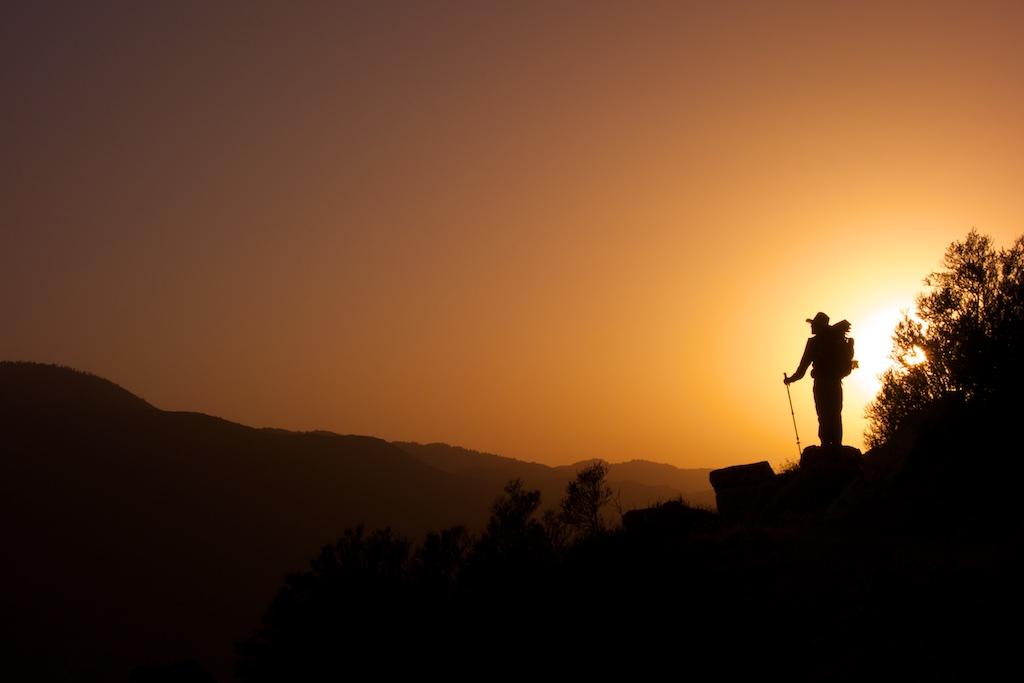 Thru-hiker Casey Gannon surveys the Anza-Borrego Desert 4000 feet below. Southern California