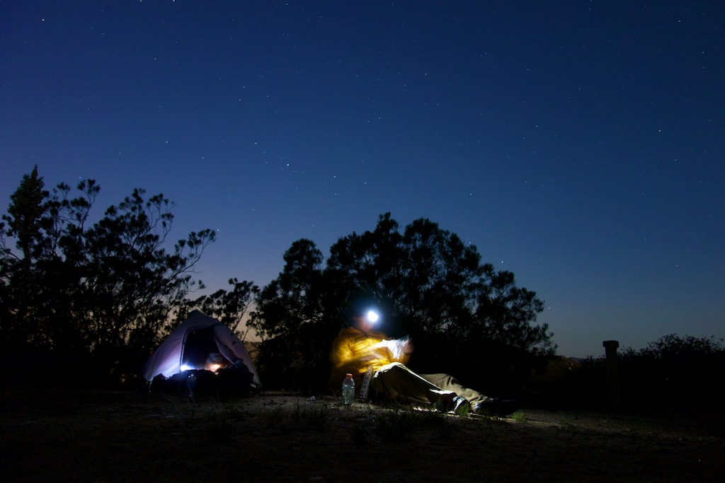 Relaxing under the stars after a long day of hiking. Southern California