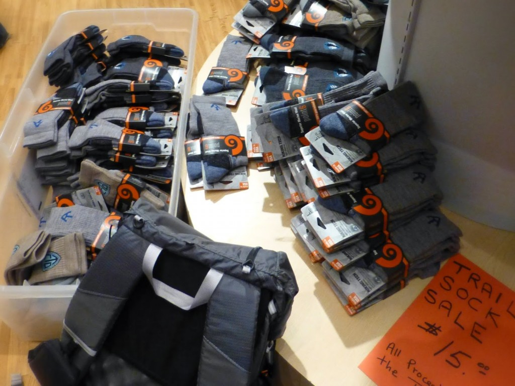 The brand new Triple Crown socks, including the PCT sock, are on sale today for $15 at the Point6 booth!