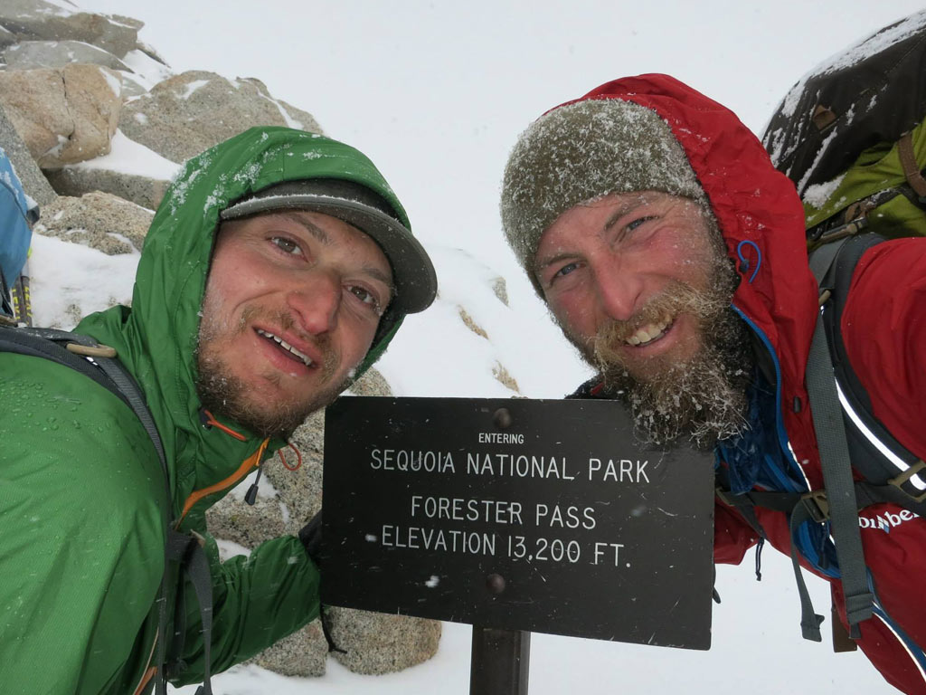 "Justin ""Trauma"" Lichter and Shawn ""Pepper"" Forry on Forester Pass, the highest point of the Pacific Crest Trail during their 2015 winter thru-hike."