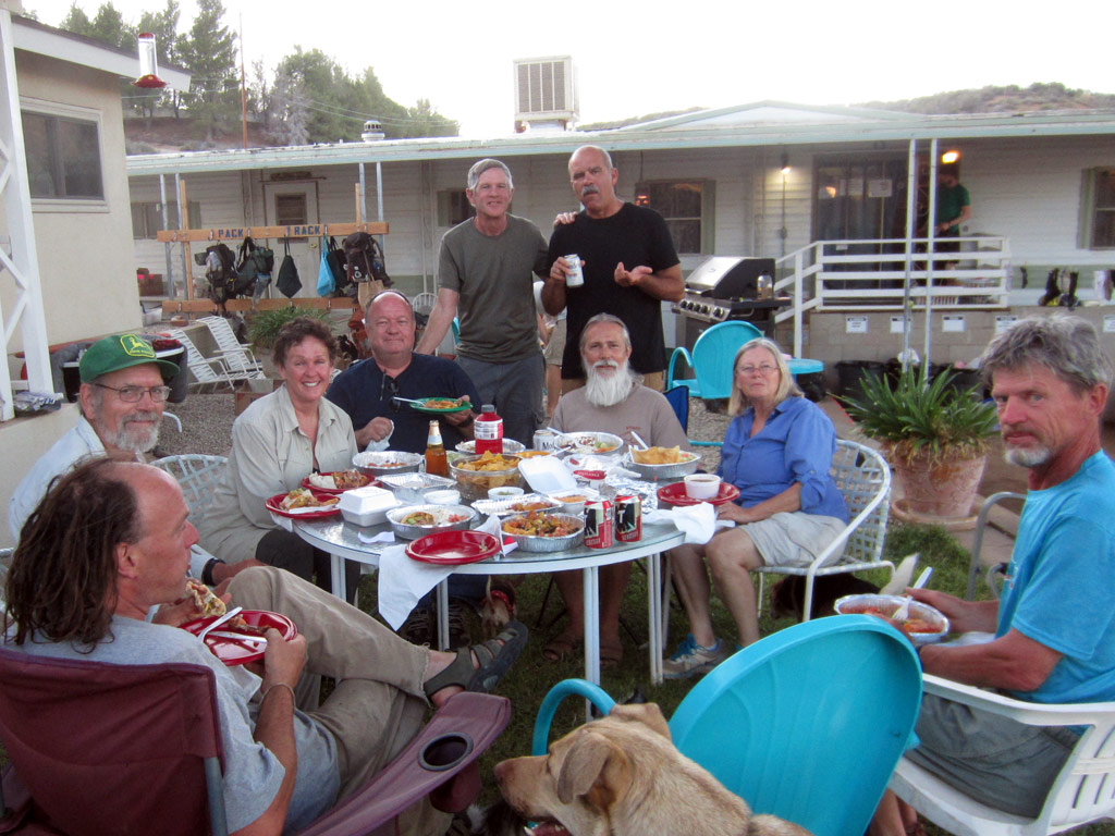 "The Saufleys and Hiker Heaven volunteers enjoy a meal on the lawn. Donna is third from left and Jeff is standing at right. Donna called them the ""best volunteers in the world."""