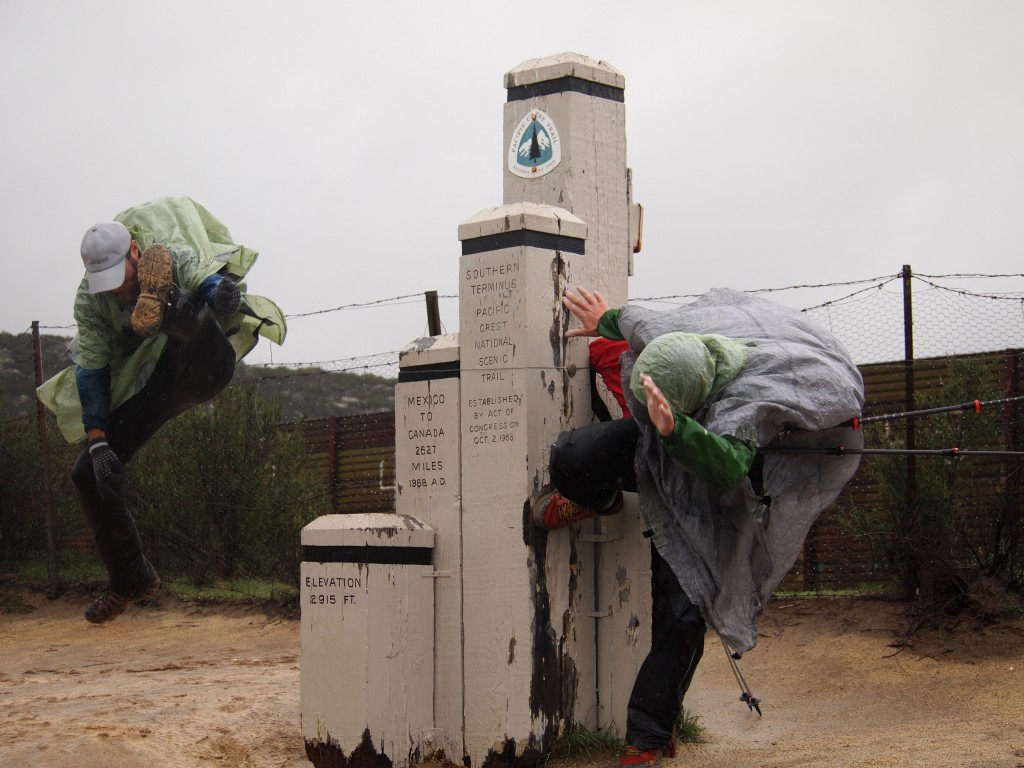 Jumping for joy at the end of their southbound thru-hike. Photo: Pea Hicks