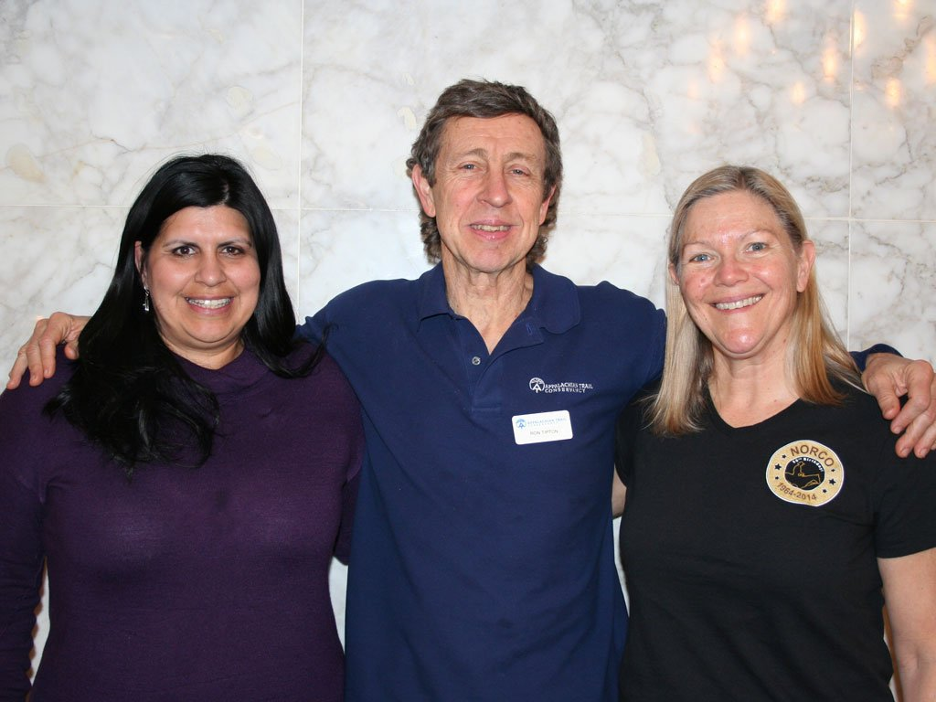 """Representatives from the """"Triple Crown"""" of National Scenic Trails pose for a picture. (L to R) Teresa Martinez (Executive Director Continental Divide Trail Coalition), Ron Tipton (Executive Director Appalachian Trail Conservancy) and Liz Bergeron (Executive Director Pacific Crest Trail Association)"""