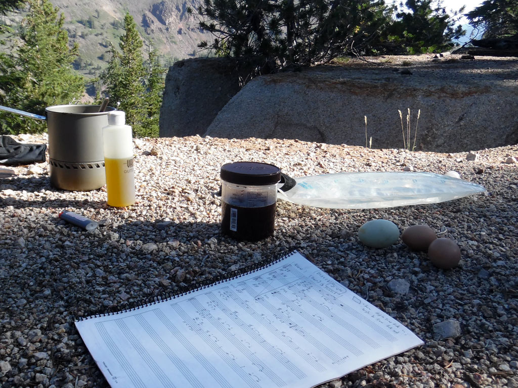 Composing music and eating breaskfast on the Pacific Crest Trail.