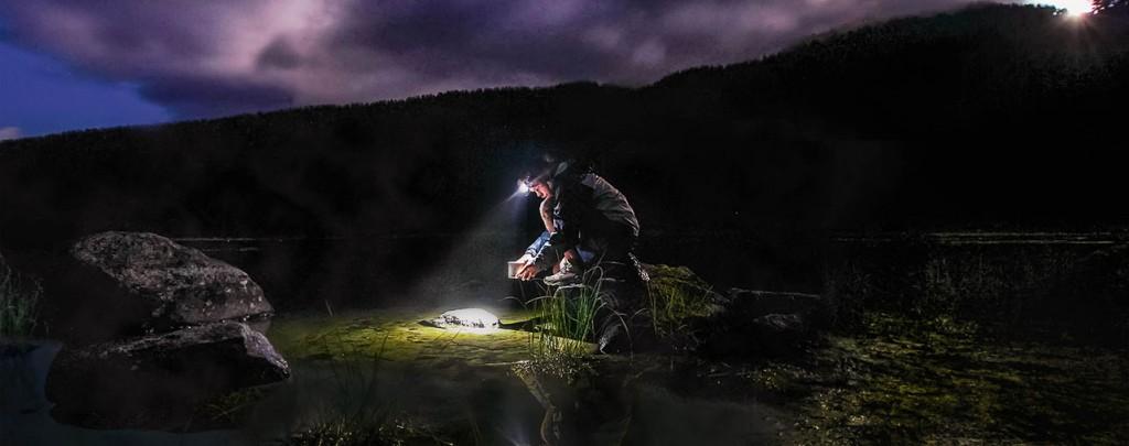 PCT hiker at midnight. Photo by: Brandon Sharpe