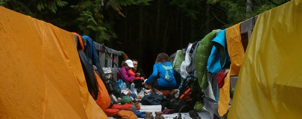Drying gear on the Pacific Crest Trail.